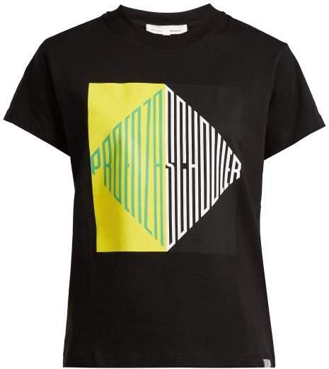 Proenza Schouler Pswl - Graphic Print Cotton Jersey T Shirt - Womens - Black Multi