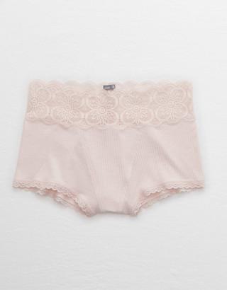 aerie Ribbed Mid Rise Boyshort Underwear