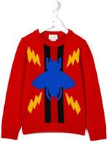 Gucci Kids beetle and Web intarsia jumper