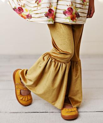 Adorable Sweetness Girls' Casual Pants Gold - Gold Velvet Flare Pants - Toddler & Girls
