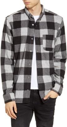 BP Plaid Button-Down Knit Flannel Shirt