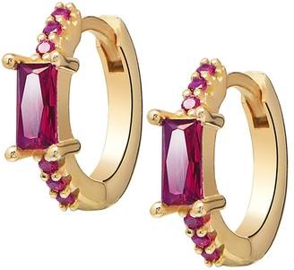 GABIRIELLE JEWELRY I Heart You 14K Gold Vermeil Cubic Zirconia Huggie Earrings