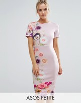Asos Placed Floral Printed T-Shirt Bodycon Dress