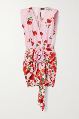 Magda Butrym Gathered Floral-print Silk-satin Jacquard Mini Dress
