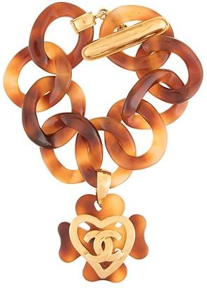 Chanel Pre Owned tortoiseshell CC heart bracelet