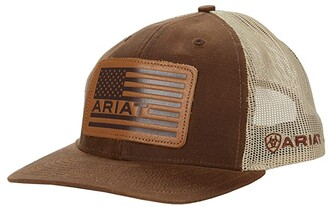 Ariat Oilskin USA Flag Leather Patch Cap (Brown) Caps
