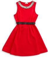 Monteau Girls 7-16 Gem-Accented Belted Dress