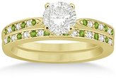 TheJewelryMaster Peridot and Diamond Engagement Ring Set 18k Yellow Gold (0.55ct) (No center stone included)