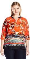 Rafaella Women's Plus Size Engineered Paradise Floral Top
