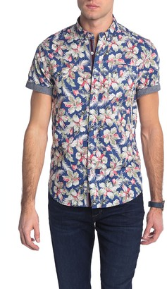 Report Collection Tropical Print Slim Fit Hawaiian Shirt