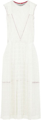 Victoria Beckham Pleated Paneled Woven Midi Dress
