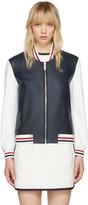 Thom Browne Navy Floral Anchor Varsity Jacket