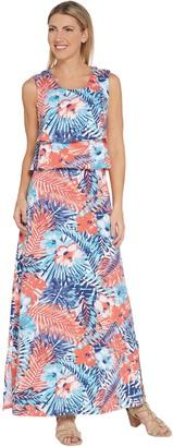 Denim & Co. Regular Floral Printed Sleeveless Knit Maxi Dress