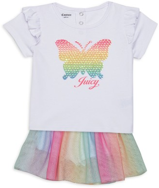 Juicy Couture Baby Girl's 2-Piece Butterfly Top & Glitter Skirt Set