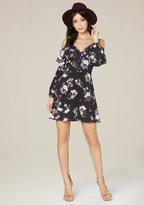 Bebe Print Ruffle Shoulder Dress