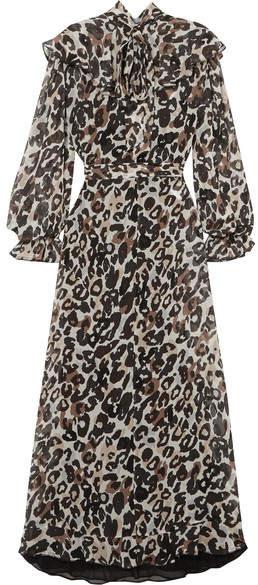 Sonia Rykiel Leopard-print Silk-chiffon Midi Dress - Brown