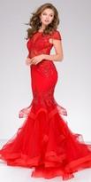 Jovani Illusion Tulle Beaded Tiered Mermaid Prom Dress