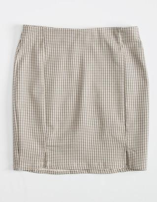 WHITE FAWN Plaid Slit Girls Skirt