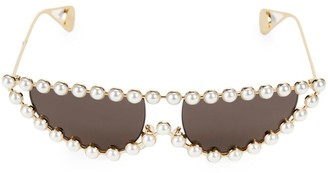 Gucci 53MM Pearl Embellished Cat Eye Sunglasses