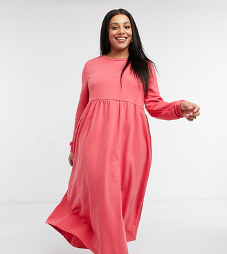 Urban Threads Curve long sweater smock dress in coral