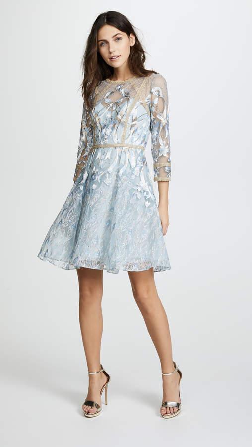 Marchesa Cocktail Dress with Metallic Lace Trim