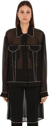 Marco De Vincenzo Embellished Crystal Georgette Shirt