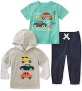 Kids Headquarters 3-Pc. Layered-Look Hoodie, Cars-Print T-Shirt & Pants Set, Baby Boys