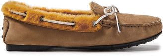 Tod's Gomma Lu Bow-detailed Shearling-lined Nubuck Loafers
