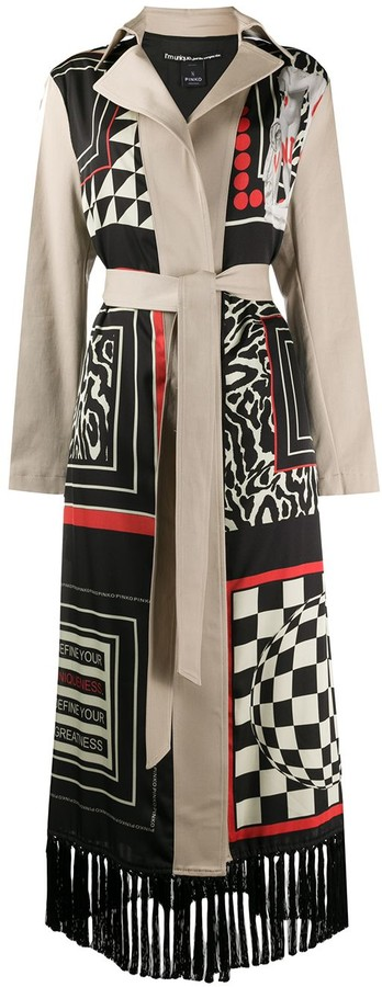 Pinko Abstract Printed Belted Coat