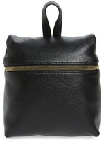 Kara Small Pebbled Leather Backpack - Black