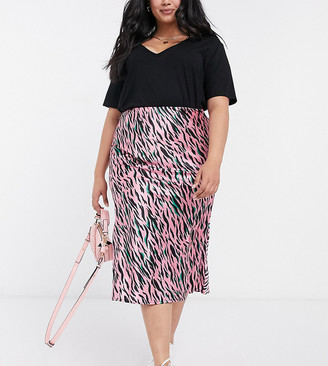 Simply Be bias cut skirt in pink