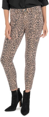 KUT from the Kloth Donna Leopard Print Ankle Skinny Jeans