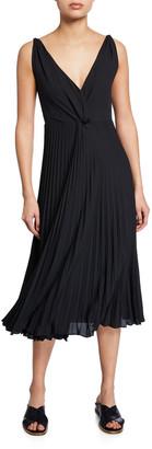 Vince Pleated Twist-Front Sleeveless Midi Dress