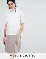 Mama Licious Mama.licious Mamalicious Short Sleeve High Neck Shift Dress