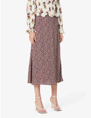 Reformation Bea floral-print crepe midi skirt