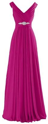 IMEKIS Women Elegant Chiffon Dress A Line Sleeveless Bridesmaid Wedding Formal Long Ball Gown Double V Neck Empire Waist Cocktail Evening Party Prom Maxi Dress Hot Pink UK 12