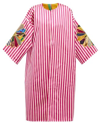 RIANNA + NINA Star-applique Striped Silk-satin Coat - Multi