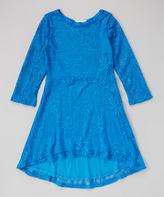Dimples Blue Lace Hi-Low Dress - Girls