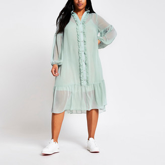 River Island Plus light green frill front midi smock dress