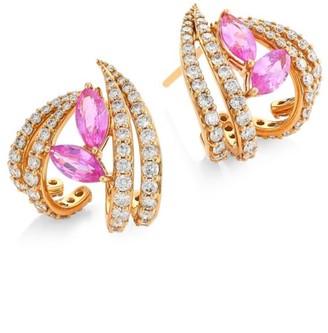 Hueb Botanica 18K Rose Gold, Diamond & Pink Sapphire Stud Earrings
