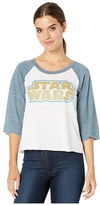 Chaser Glitter Star Wars Blocked Jersey 3/4 Baseball Raglan Tee (White/Wave) Women's Clothing