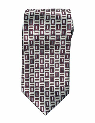 Towergem Extra Long Tie Purple/Blue Rectangle Men's Jacquard Handmade XL Necktie