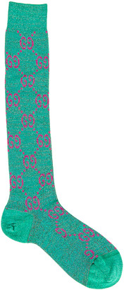 Gucci Logo Socks in Emerald & Pink | FWRD