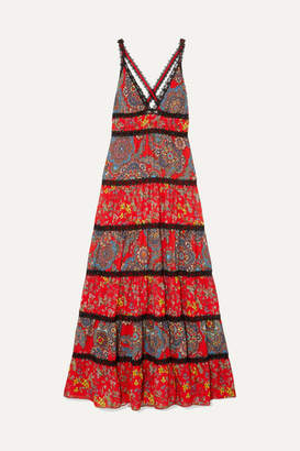 Alice + Olivia Alice Olivia - Karolina Crochet-trimmed Printed Crepe Maxi Dress - Red