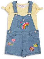 Little Lass Girls 2-6x Two-Piece Top and Embroidered Shortall Set