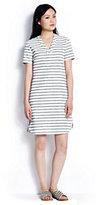 modern Women's Linen V-neck Dress-Crisp White/Ink Black Stripe