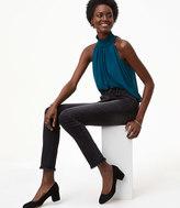 LOFT Modern Frayed Skinny Jeans in Washed Black