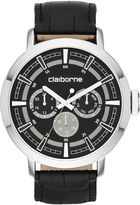 Claiborne Mens Black Leather Strap Multifunction Watch