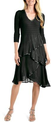 Komarov Tiered V-Neck Midi Dress
