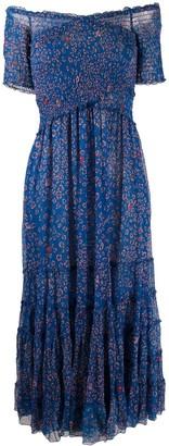 Poupette St Barth Floral Print Off Shoulder Dress